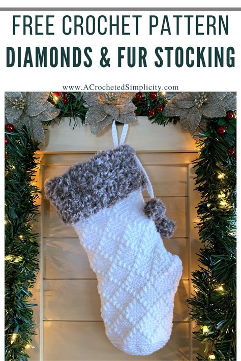 Free Crochet Stocking Pattern – Diamonds & Fur Christmas Stocking Free Crochet Stocking Pattern – Diamonds & Fur Christmas Stocking,A Crocheted Simplicity Free Crochet Pattern – Diamonds & Fur Christmas Stocking by A Crocheted. Crochet Christmas Stocking Pattern, Crochet Stocking, Crochet Christmas Decorations, Knitted Christmas Stockings, Christmas Knitting, Crochet Gifts, Holiday Crochet Patterns, Crochet Christmas Gifts, Crochet Ornaments