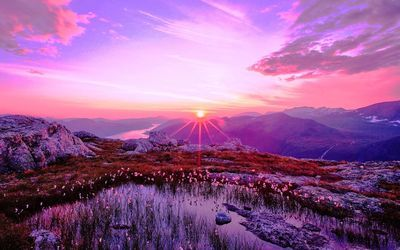 Purple Sunrise Over The Mountains Landscape Photos Sunset Wallpaper Sunset Landscape