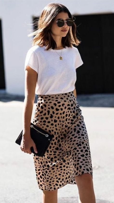 Leopard skirt and white tee shirt. - Teresa Gebhart - - Leopard skirt and white tee shirt. Leopard skirt and white tee shirt.