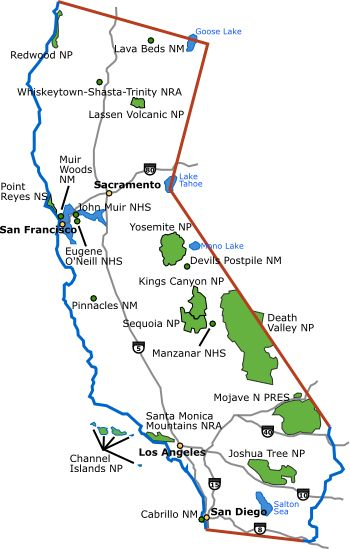 California Map with National Parks National Park support from
