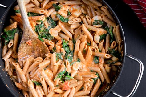 Penne with tomato cream sauce. Uses Greek yogurt for cream. Takes 15 minutes to make