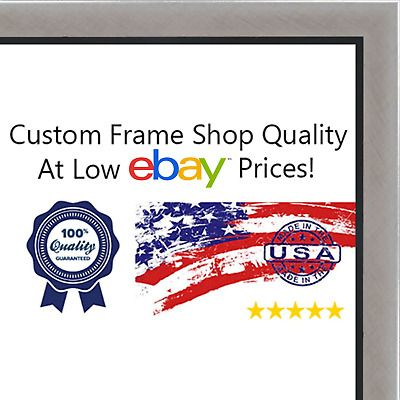 Details About 10x30 10 X 30 Stainless Steel Silver With Black Lip Solid Wood Frame With Uv F In 2020 Custom Frame Shop Wood Frame Picture On Wood