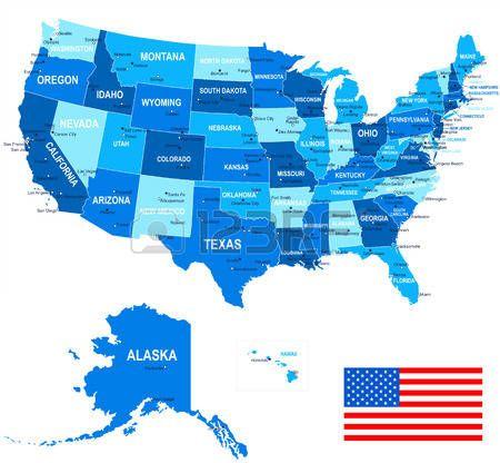 Estados Unidos Ee Uu Mapa Bandera Y De Navegacion Iconos Ilustracion Estados Unidos De America Ilustraciones Estados Unidos