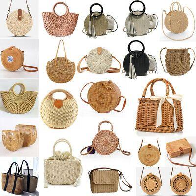Summer Women Bohemian Woven Handbag Rattan Wicker Straw Sling Bag Beach Casual