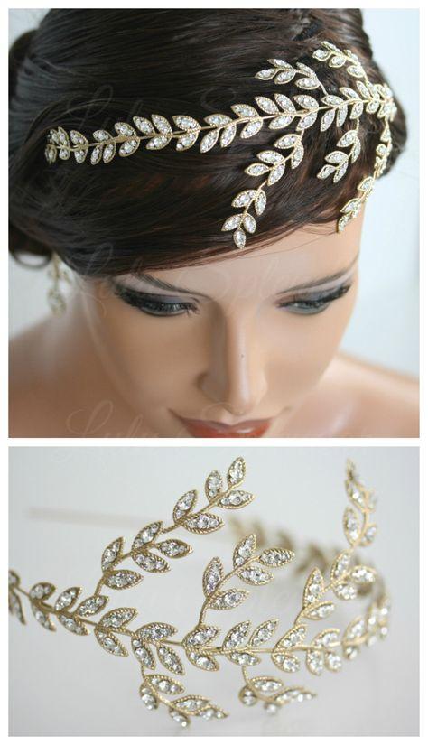 Leaf+Wedding+Headband+Gold+Crystal+Leaves+Side+by+LuluSplendor,+$165.00