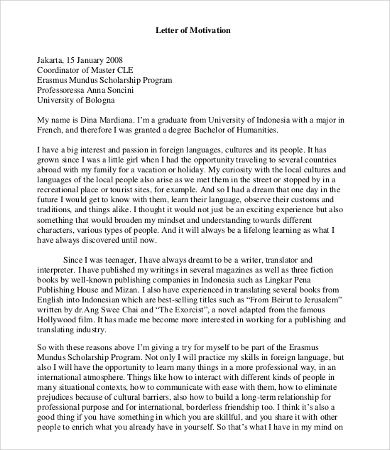 Scholarship Application Letter Of Motivation