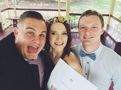 Chris & Emma #marriedbyjosh at #newfarm park!  #brisbanecelebrant