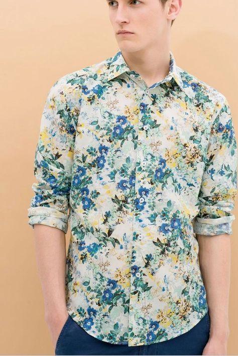 245d3394b152 Zara Man Shirt Floral Print Long Sleeve Button Down Slim Fit Size S | eBay