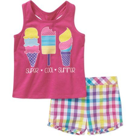 8907c9ab1 Healthtex Baby Toddler Girl Tank and Woven Shorts Set, Pink ...