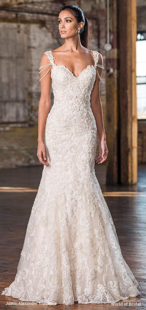 Highlight your arms with draped pearl strands attached to this fit and flare gown also showcasing a sweetheart neckline, beaded lace, and sweep train.   Justin Alexander Signature Fall 2016 Wedding Dresses via @WorldofBridal