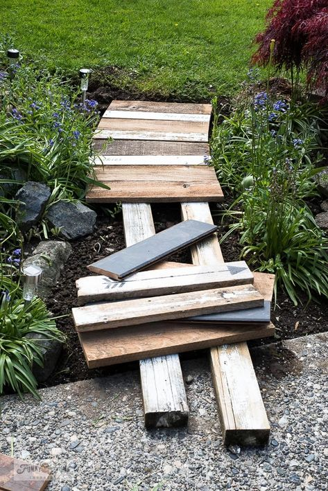 Learn how to build this easy and beautiful garden-themed reclaimed wood walkway with scrap wood and stencils! Easy to customize! Garden Types, Garden Paths, Garden Bridge, Garden Art, Walkway Garden, Garden Entrance, Dream Garden, Herb Garden, Wood Walkway