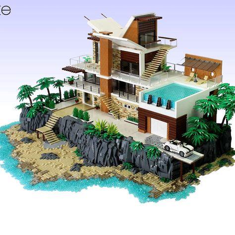 Lego Design, Lego Mansion, Lego Hacks, Lego Sculptures, Amazing Lego Creations, Lego Pictures, Lego Craft, Cool Minecraft Houses, Lego Room