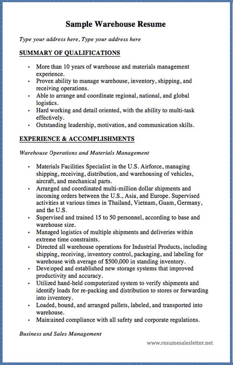 Sample Warehouse Resume Type your address here, Type your address - qualifications summary examples