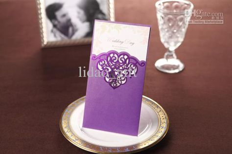 Cheap Wedding Invitations - Best Purple Lace Cutout Wedding Invitation Set of 50 Online with $1.05/Piece | DHgate