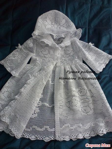 Платье вязанное крестильное
