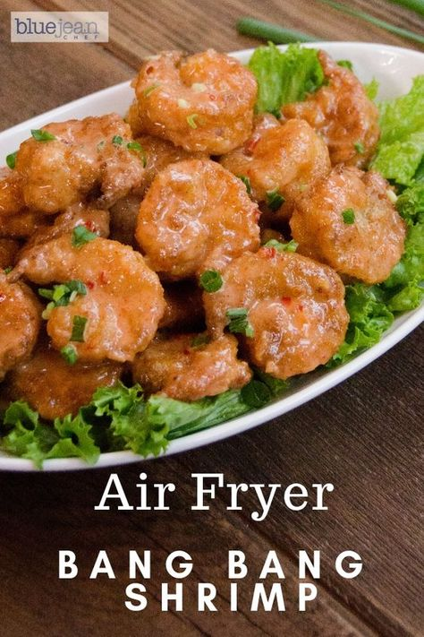 If you've been to a Bonefish Grill, you'e probably had their delicious Bang Bang Shrimp. This version is a little lighter because it uses an air-fryer instead of a deep-fryer. #bluejeanchef #airfryeverything #airfrygenius #airfryerrecipes #bangbangshrimp