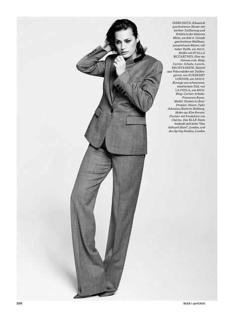 Yasmin Le Bon Elle Germany April 2015 photographer: David Oldham fashion director: Isabel Arnhold hair: Tyler Johnston at Kathrin Hohberg makeup: Kim Brown at Premier