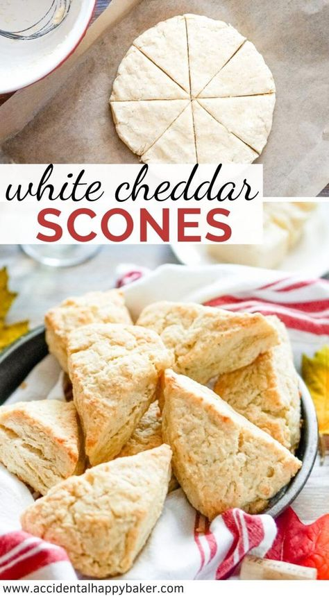 White cheddar scones are absolutely packed with sharp cheddar flavor! Buttery and flaky, cheesy and crisp, with a hint of red pepper spice.