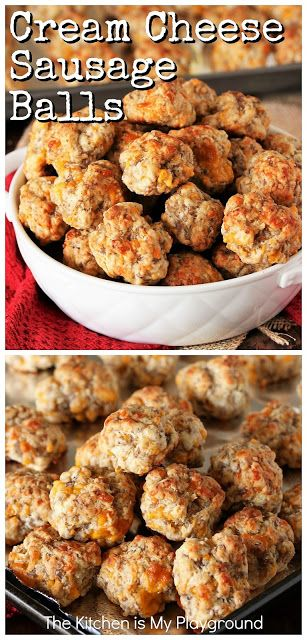 finger foods Cream Cheese Sausage Balls ~ Make everybody's party-favorite Sausage Balls extra tender and extra delicious by adding in a touch of cream cheese! Hot Sausage, Cheese Sausage, Sausage Meatballs, Baked Sausage, Yummy Appetizers, Appetizer Recipes, Cream Cheese Appetizers, Cream Cheese Recipes Dinner, Recipe For Sausage Balls Using Cream Cheese