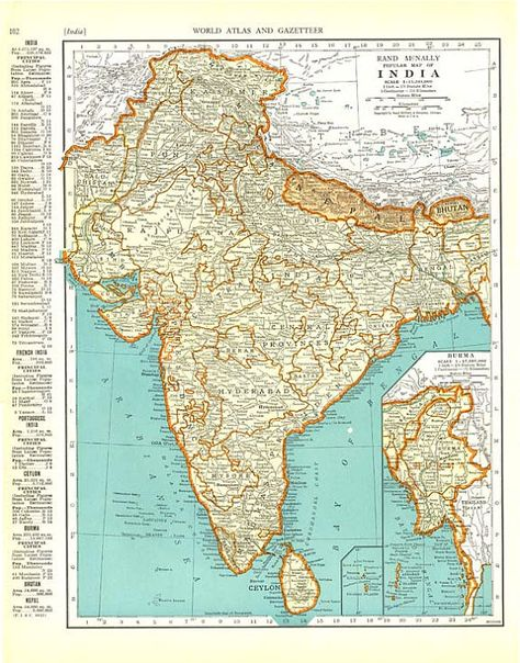 AFGHANISTAN and INDIA MAP 1935 Vintage Double-Sided Colliers World ...