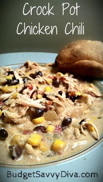 Crock Pot Chicken Chili: Tried it, was easy and yummy! Next time using plain diced tomatoes. The added spices in the canned made it too hot for little ones. -CC
