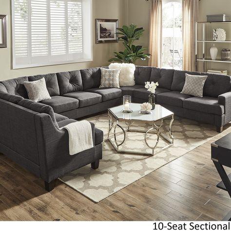 Admirable Elston Dark Grey Linen U Shape Sectionals By Inspire Q Gamerscity Chair Design For Home Gamerscityorg