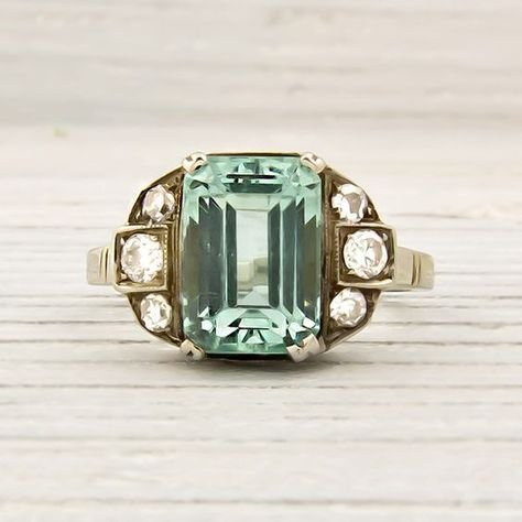 erstwhile jewelry & co - Vintage White and Yellow Gold Emerald Engagement Ring