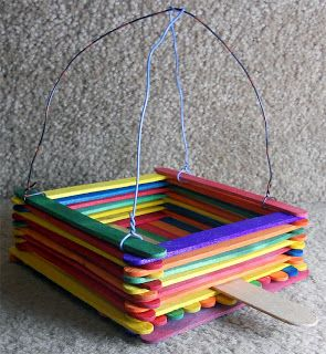 fun camp crafts - Popsicle stick bird feeder and more