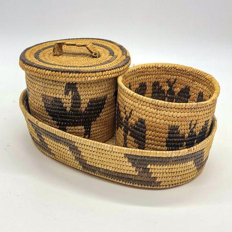 SALE Southwestern Native American basket handle round flat vintage Tohono O/'odham rare desert Arizona Sonora handmade traditional bowl