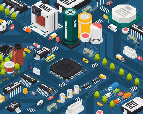 Colored semiconductor electronic components isometric city concept with different elements combined in city vector illustration , #AFF, #components, #isometric, #electronic, #Colored, #semiconductor