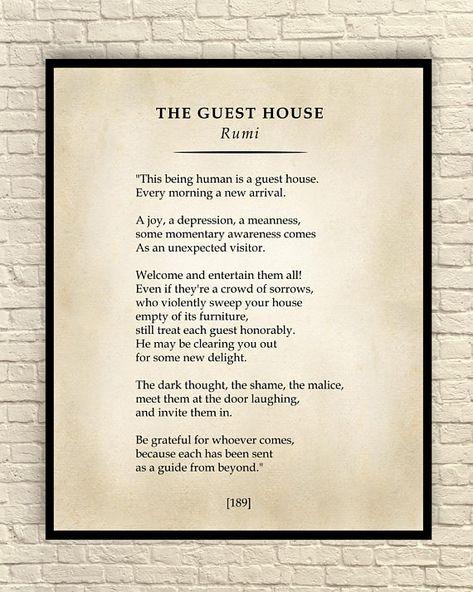 The Guest House Poem, Classic Poem Art Print, Poetry Wall Art, Literary Art Print, Custom Art Print, Rumi Print