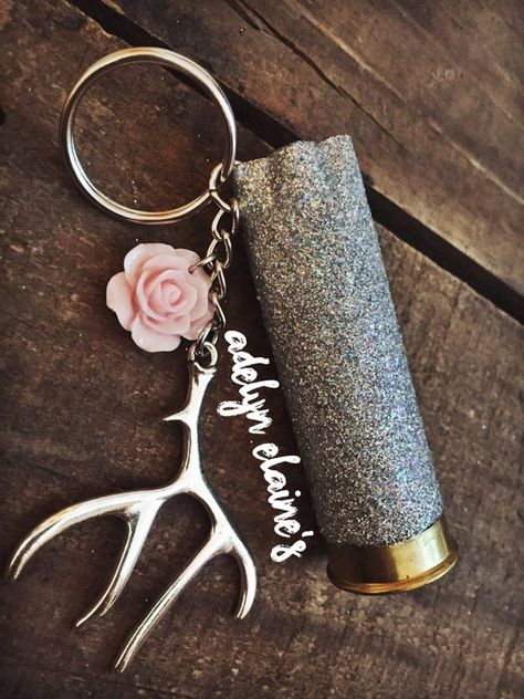 Silver Glitter 12 Gauge Shotgun Shell Keychain with Deer Antler Charm and Pink Rose Flower Ammo Jewelry, Bullet Jewelry, Jewelry Crafts, Bullet Earrings, Jewlery, Bullet Casing Crafts, Bullet Crafts, Bullet Keychain, Diy Keychain