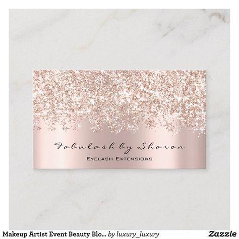 Makeup Artist Event Beauty Blogger Glitter Vip Business Card
