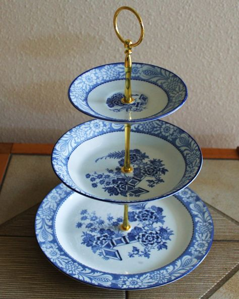 3 Tier Cake Cupcake Plate Tidbit Stand Blue White by Botanicalgems