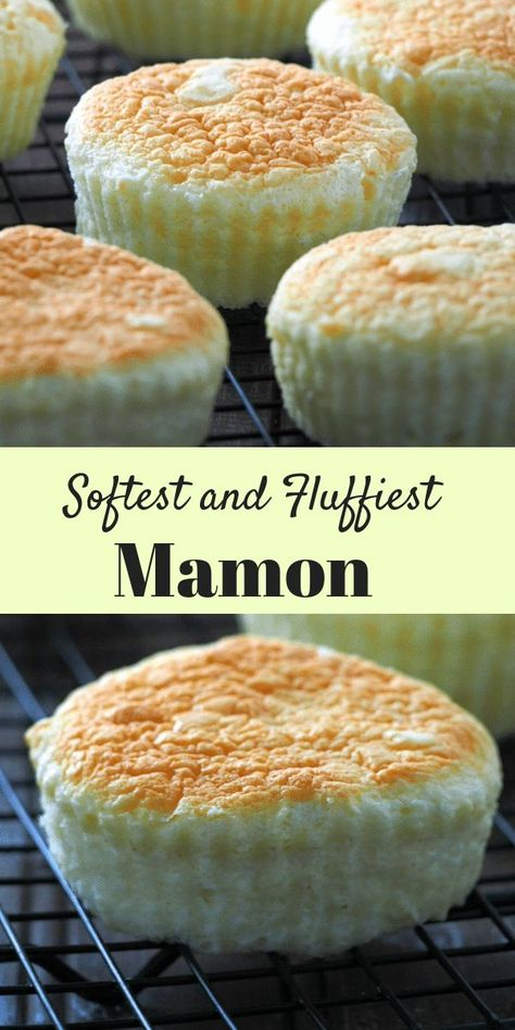 Mamon Recipe – Woman Scribbles This is the softest and most delicate, fluffy mamon. They are delicious little cakes with a hint of cream cheese and butter and can be made special by toppings of cheese, sugar and more butter. Philipinische Desserts, Asian Desserts, Delicious Desserts, Dessert Recipes, Hawaiian Desserts, Pinoy Dessert, Filipino Desserts, Easy Filipino Recipes, Filipino Food