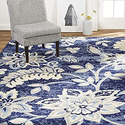 Amazon Com Home Dynamix Tremont Teaneck Transitional Area Rug Floral Navy Blue 21 X3 In 2020 Blue And White Rug Blue And Cream Living Room Navy And White Living Room