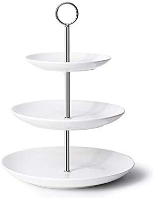 Amazon Com Krockery 3 Tier White Porcelain Cupcake Stand Cake Stand Dessert Stand Porcelain Serving Plates For Dessert Stand Tiered Serving Stand Cake Stand