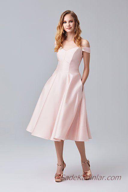 2019 Abiye Elbise Modelleri Pembe Saten Midi Omzu Acik Dusuk Kol Kalp Yaka Elbise Elbise Modelleri The Dress