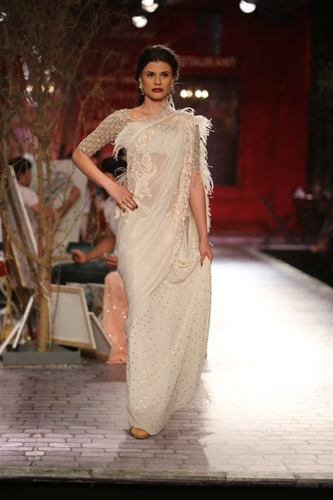 white sari with feathers - Monisha Jaisings World Bride Collection India Couture Week 2014