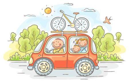 Stock Photo Familia Feliz Caricaturas De Niños Y Viaje