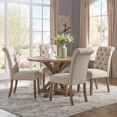 Set Of 2 Gramercy Button Tufted Dining Chair Wood Oatmeal