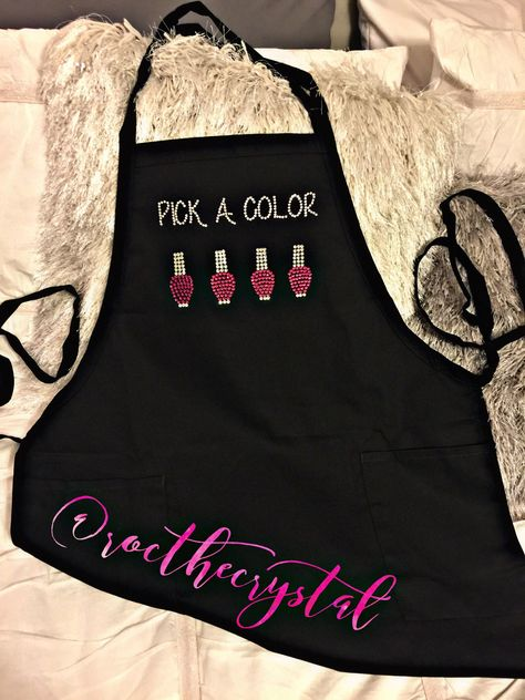 The first thing your client does when they walk through your door is, PICK A COLOR This listing is for PICK A COLOR to be made in silver crystals. You may choose the color of the nail polish when purchasing. This apron is 100% cotton •Two waist level patch pockets pen pocket •1