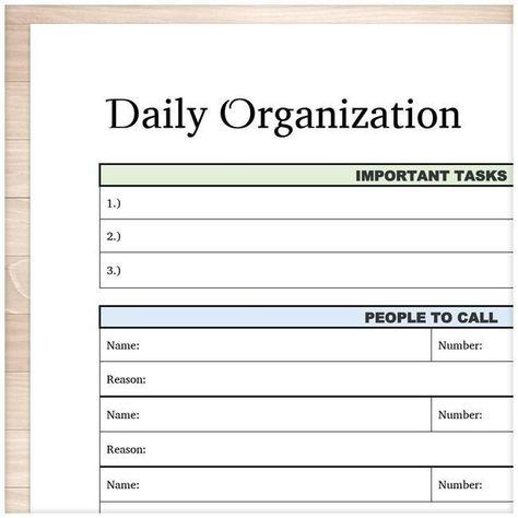 Daily Organization Category Task Sheet - Printable