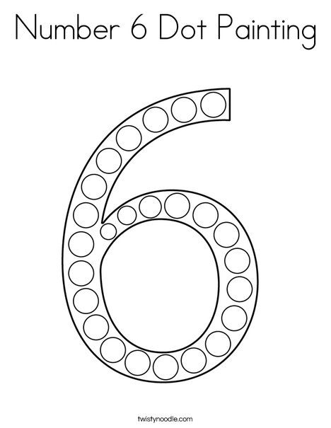 Number 6 Dot Painting Coloring Page Twisty Noodle Dot Painting