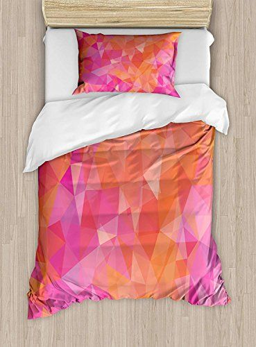 Bilagawa Twin Xl Extra Long Bedding Set Orange And Pink Duvet Cover Set Polygonal Composition With Tri Pink Duvet Cover Duvet Cover Sets Twin Size Duvet Covers