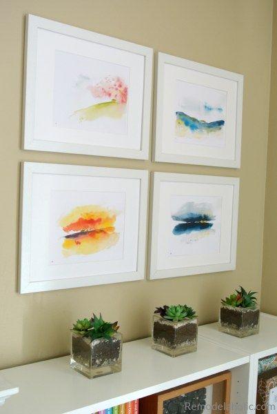 Printable Abstract Watercolor Landscape Set Easy IKEA Hack Wood ...