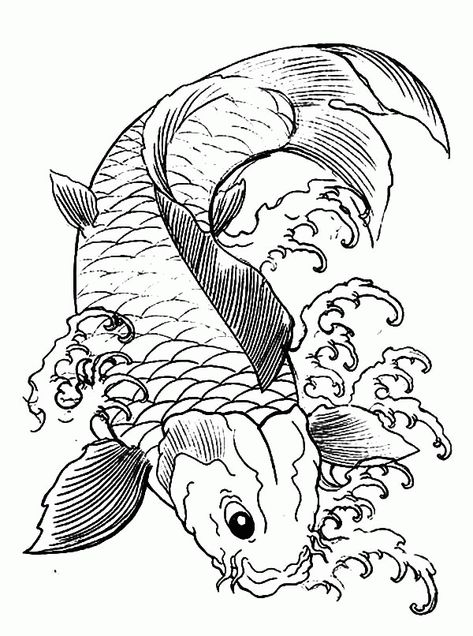 Koi Fish Coloring Pages Coloring Home Home Furniture Pinterest