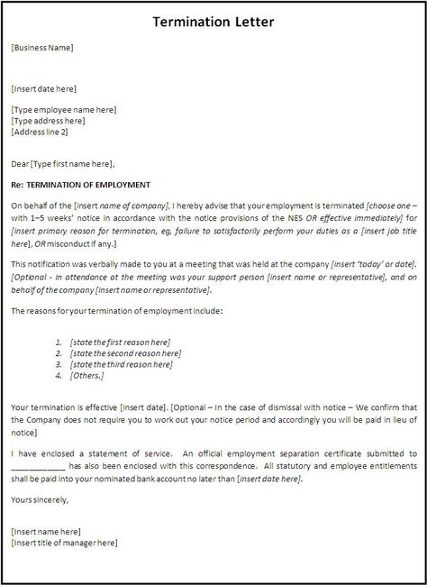 Writing a Business Termination Letter (with Sample) Business - employee termination letter template free