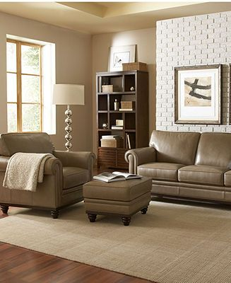 Martha Stewart Collection Bradyn Leather Sofa Collection, Created ...