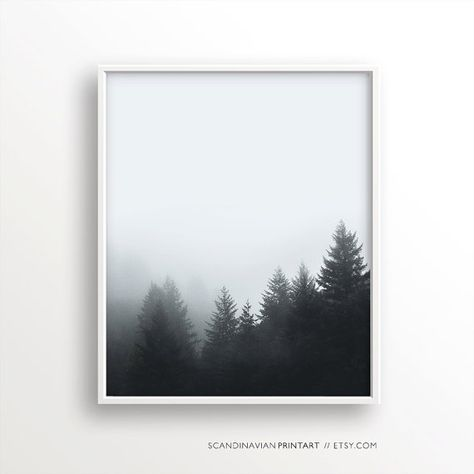 Forest fog print, fog and forest, mist forest, forest prints,forest minimalist wall art, nordic nature, foggy forest, forest landscape print
